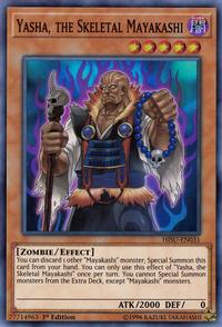 YuGiOh! TCG karta: Yasha, the Skeletal Mayakashi