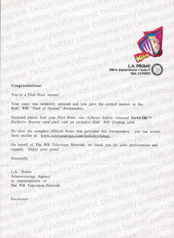 The letter to which the promo and the Exclusive Pack were attached