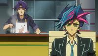 Yusaku and Kusanagi disccussing
