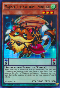 YuGiOh! TCG karta: Majespecter Raccoon - Bunbuku