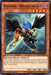 YuGiOh! TCG karta: Blackwing - Zephyros the Elite