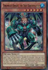 YuGiOh! TCG karta: Dinomight Knight, the True Dracofighter