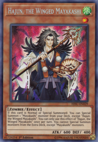 YuGiOh! TCG karta: Hajun, the Winged Mayakashi