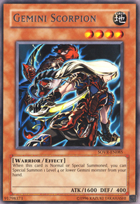 YuGiOh! TCG karta: Gemini Scorpion