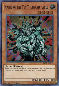 YuGiOh! TCG karta: Manju of the Ten Thousand Hands