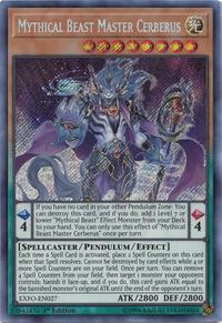 YuGiOh! TCG karta: Mythical Beast Master Cerberus