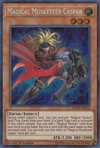 YuGiOh! TCG karta: Magical Musketeer Caspar