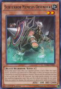YuGiOh! TCG karta: Subterror Nemesis Defender