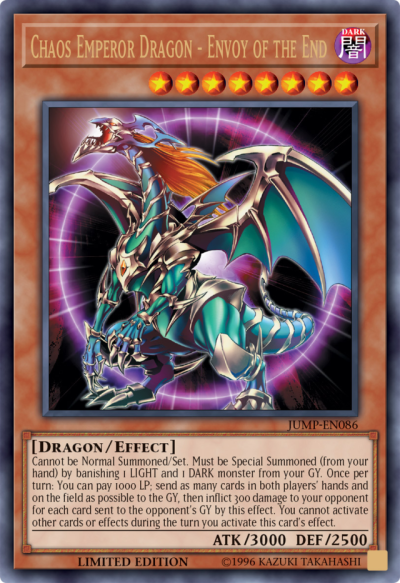 Chaos Emperor Dragon  The card that created the Yu-Gi-Oh! Banlist