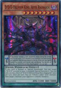 YuGiOh! TCG karta: D/D/D Oblivion King Abyss Ragnarok