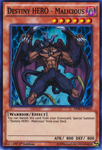 YuGiOh! TCG karta: Destiny HERO - Malicious