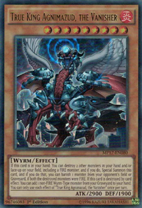 YuGiOh! TCG karta: True King Agnimazud, the Vanisher