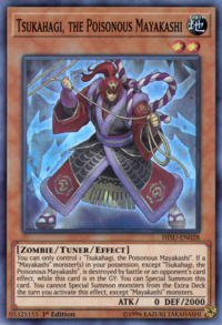 YuGiOh! TCG karta: Tsukahagi, the Poisonous Mayakashi