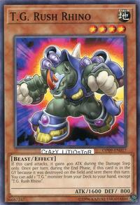 YuGiOh! TCG karta: T.G. Rush Rhino