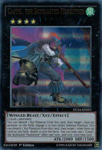 YuGiOh! TCG karta: Castel, the Skyblaster Musketeer