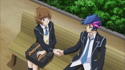 Skye and Yusaku shake hands