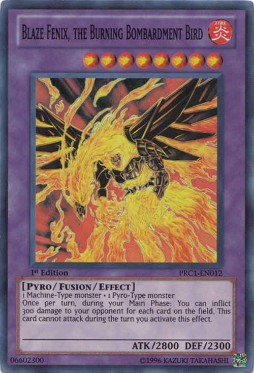 Blaze Fenix The Burning Bombardment Bird Baza Kart Yu Gi Oh
