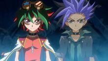 Yuya y Yuto Invocando a Rebelión Oscura