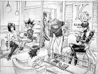 Yugi, Téa, Joey, Kaiba, Mokuba y Aigami por Kagami
