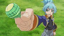 Sora ofreciendo un chupachús a Aster
