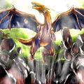 Foto el batir de alas del dragón gigante