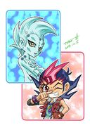 Yuma y Astral chibis por Tomonaga