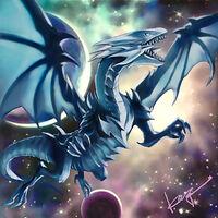 Foto dragón blanco de ojos azules vjmp