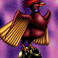 Foto ave de cráneo rojo