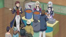 Mamoru, Gloria y Grace distribuyendo comida