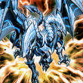 Foto dragón explosivo de ojos azules de dos cabezas
