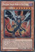 Malicioso dragón negro de ojos rojos