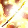 Foto espada de bambú dorada