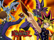 Poster promocional Kaiba con dragón blanco y Yugi con mago oscuro