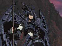 Joey con Armadura de Duelo de Dragón Negro de Ojos Rojos
