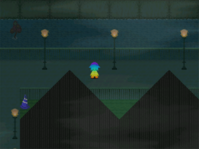 Haunted forest town rainbow creature
