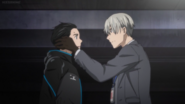 Viktor clogs the ears of Yuuri