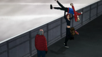 Mila's lifting up Yuri