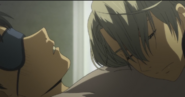Viktor resting on yuuri's chest EP7