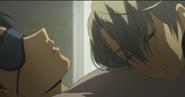 Viktor resting on yuuri's chest EP7