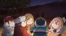Ena Chiaki Aoi Rin Nadeshiko by camp fire