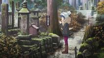 Rin praying at Hayatarou shrine