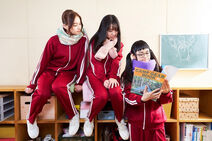 Yumena Yanai as Aoi Inuyama, Yuno Ohara as Nadeshiko Kagamihara, and Momoko Tanabe as Chiaki Oogaki