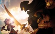 Will Gamble fighting with Golden Bones concept art