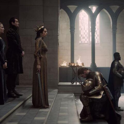 Královská rodina během rytířské ceremonie.
