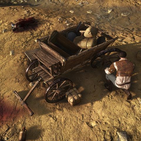 <b>Bram</b> opravující svůj vůz po útoku gryfa.