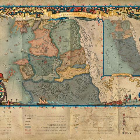 Detailní mapa Severních království ze Zaklínače 2
