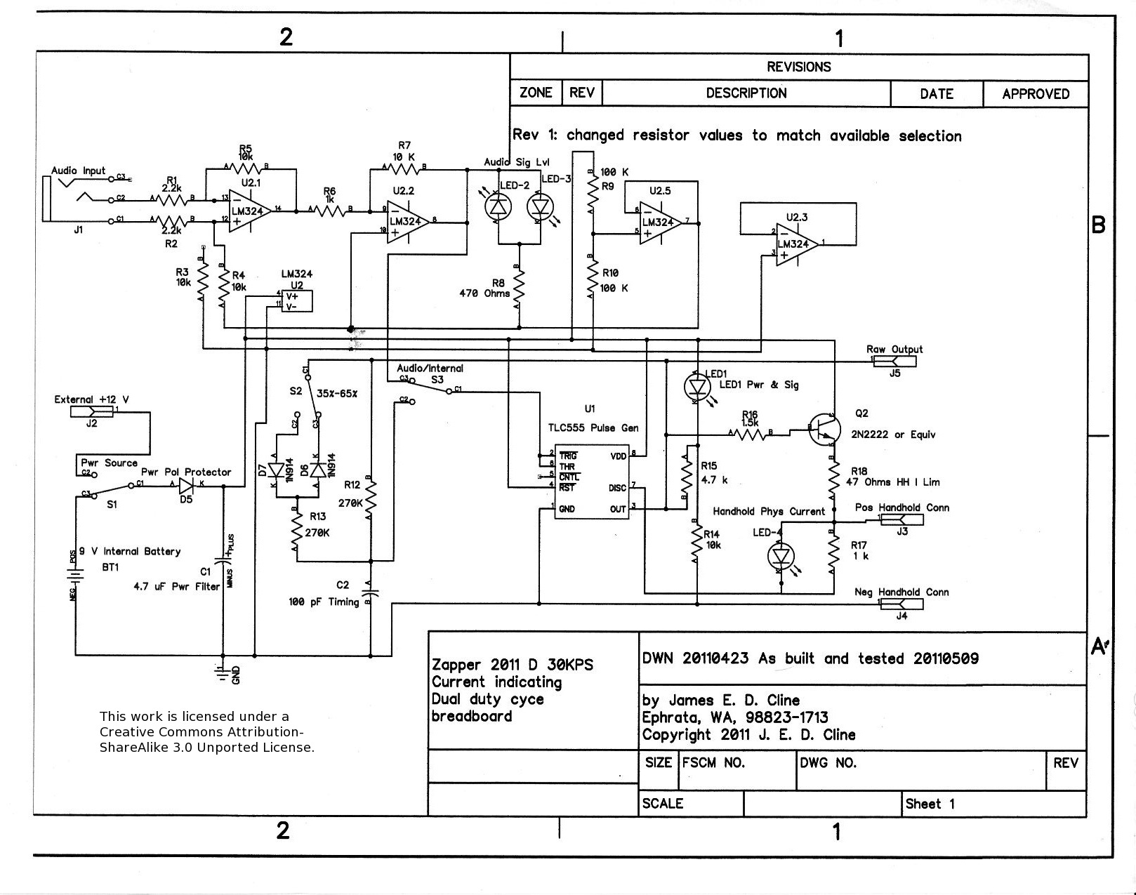 schematic of audio programmed zapper