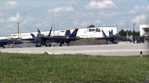 Blue Angels F A-18 taxi past for runway 05 at YYZ