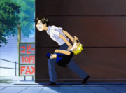 Zatch mordiendo a Kiyomaro