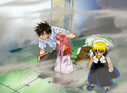 Kiyomaro y Zatch protegen a Tía